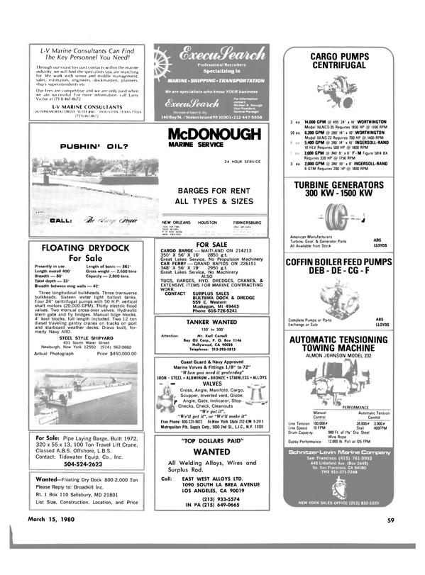 Maritime Reporter Magazine, page 53,  Mar 15, 1980