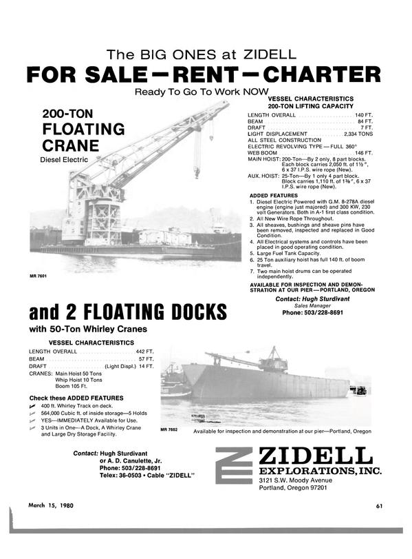 Maritime Reporter Magazine, page 55,  Mar 15, 1980 WEB BOOM