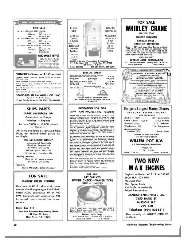 Maritime Reporter Magazine, page 56,  Mar 15, 1980