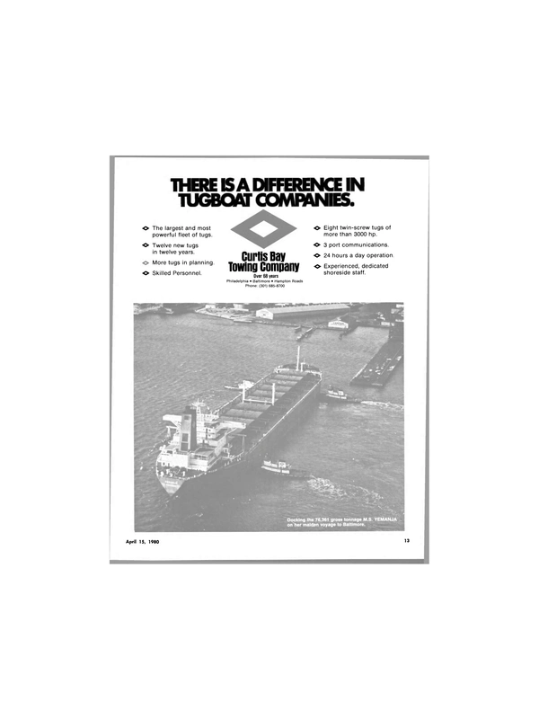 Maritime Reporter Magazine, page 11,  Apr 15, 1980 CURTIS BAY TOWING COMPANY