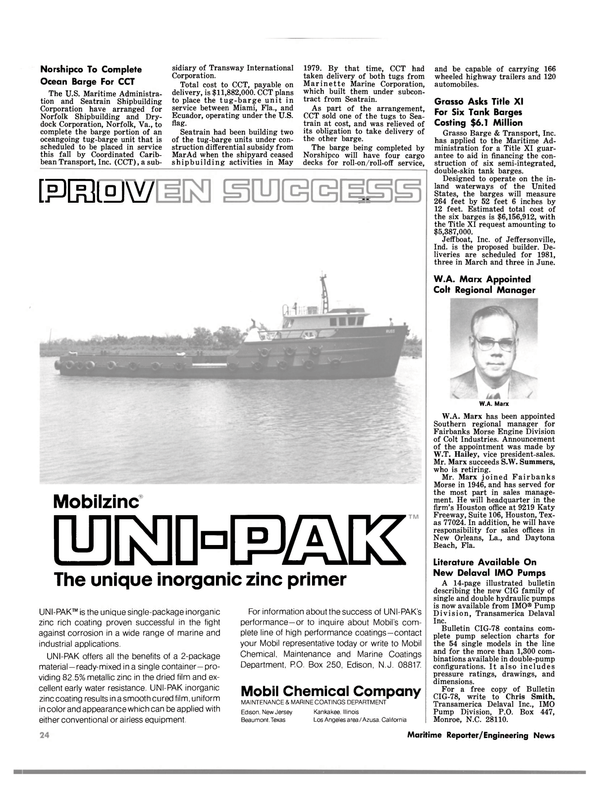 Maritime Reporter Magazine, page 22,  May 1980