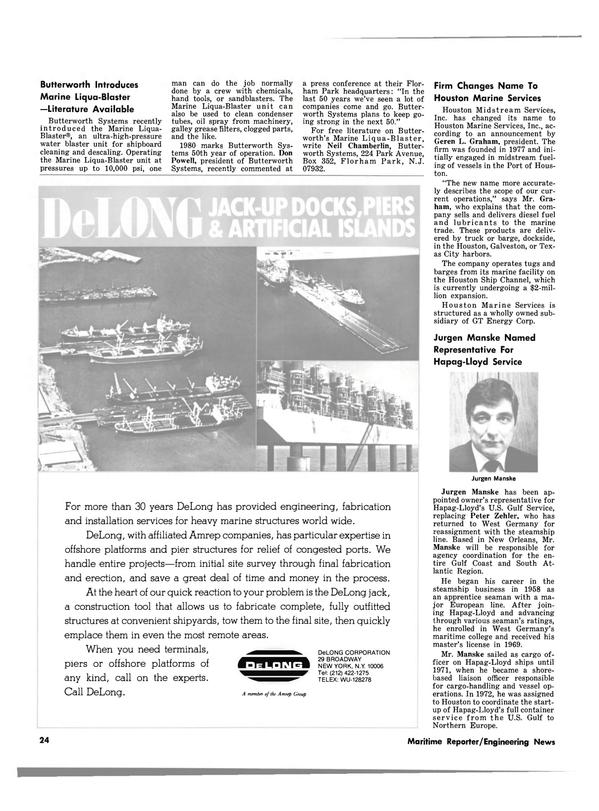 Maritime Reporter Magazine, page 22,  Jul 15, 1980