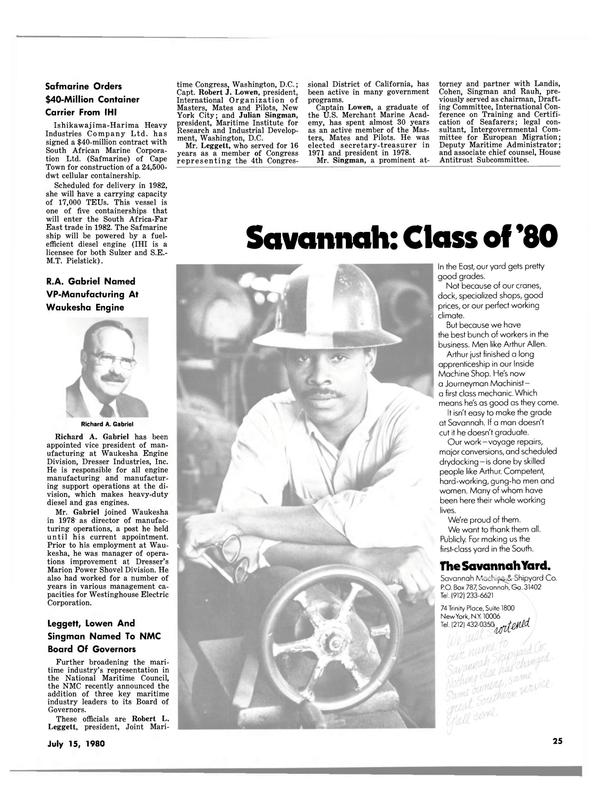 Maritime Reporter Magazine, page 25,  Jul 15, 1980
