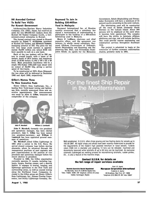 Maritime Reporter Magazine, page 35,  Aug 1980