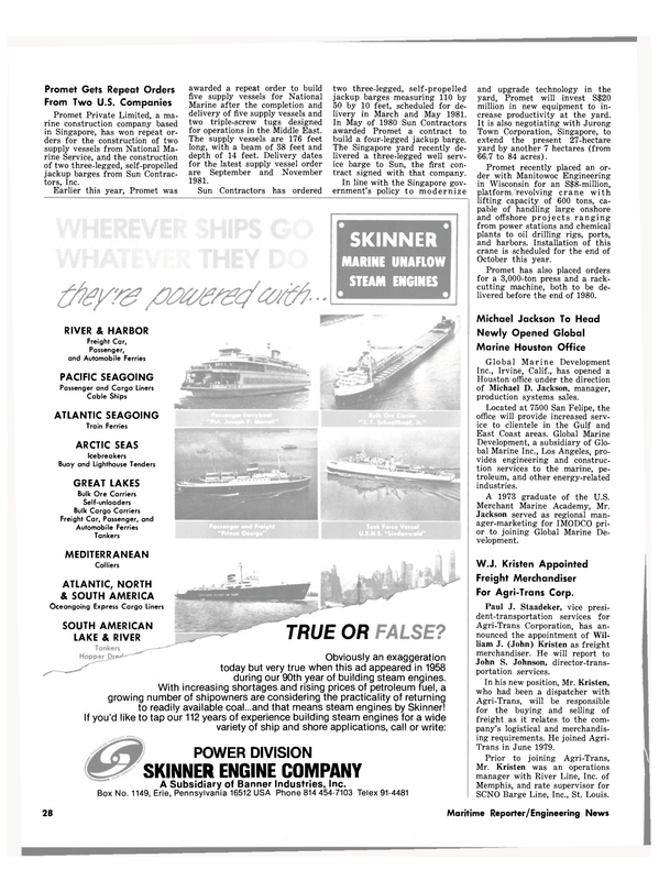 Maritime Reporter Magazine, page 26,  Sep 15, 1980