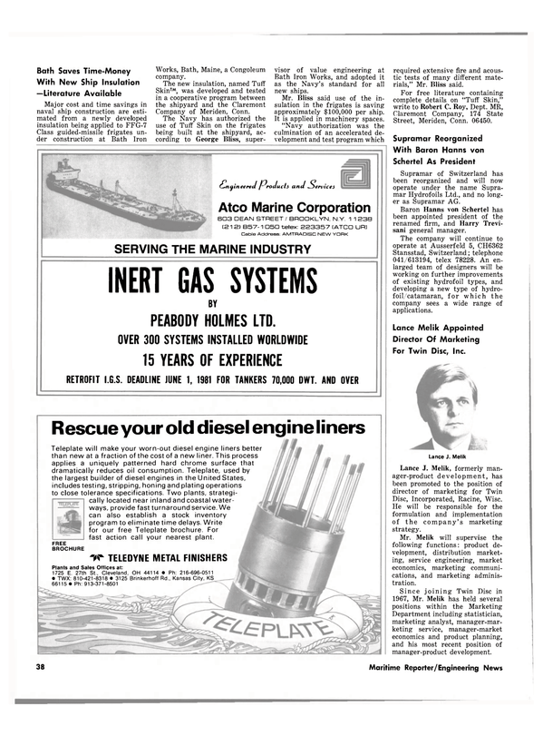 Maritime Reporter Magazine, page 36,  Sep 15, 1980