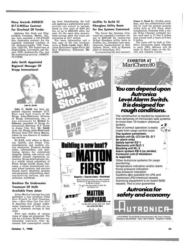 Maritime Reporter Magazine, page 41,  Oct 1980 North Carolina