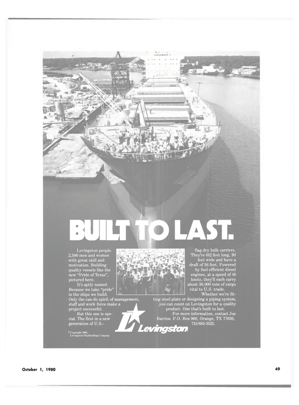 Maritime Reporter Magazine, page 45,  Oct 1980 steel plate