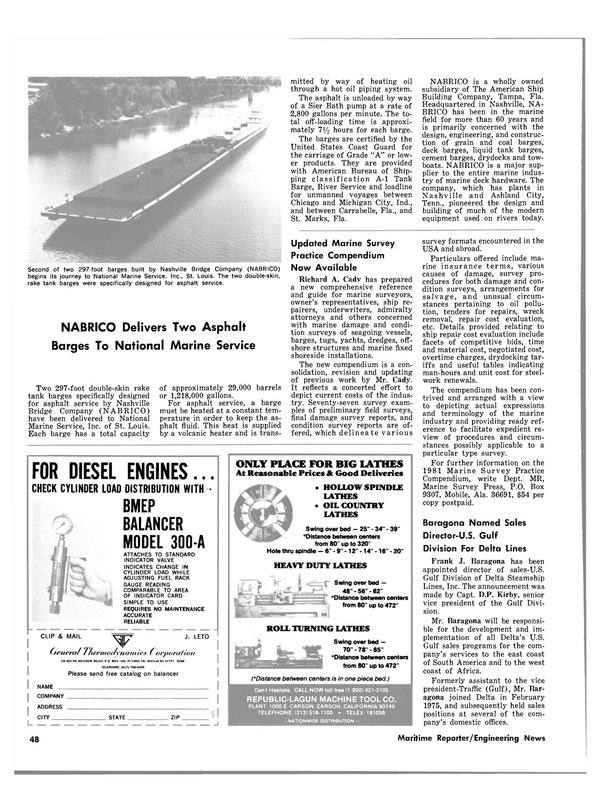 Maritime Reporter Magazine, page 48,  Oct 15, 1980