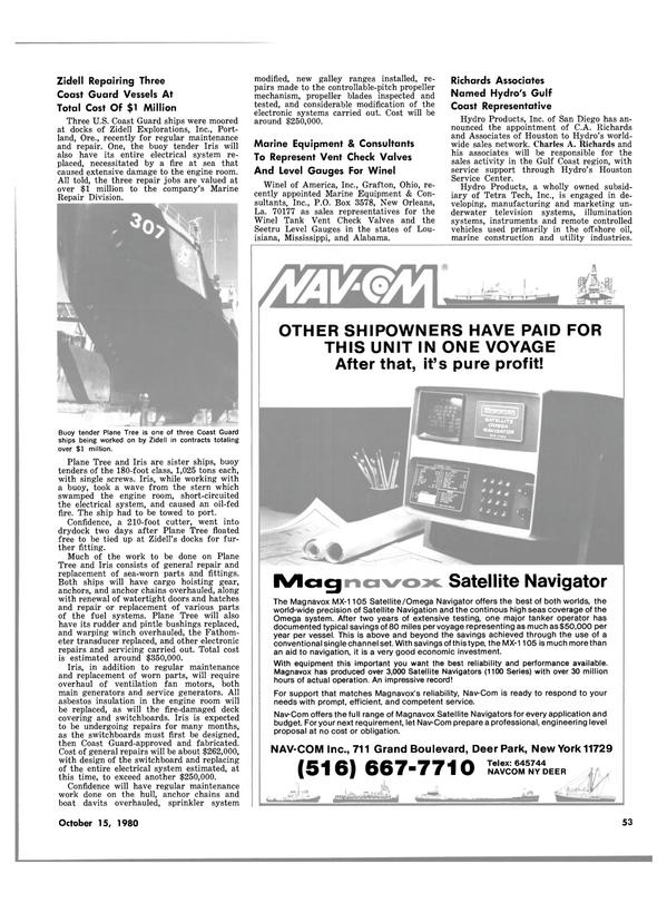 Maritime Reporter Magazine, page 53,  Oct 15, 1980
