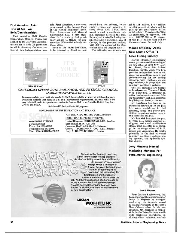 Maritime Reporter Magazine, page 58,  Oct 15, 1980