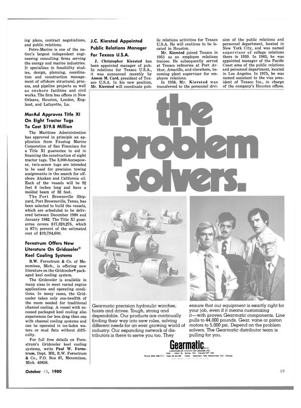 Maritime Reporter Magazine, page 59,  Oct 15, 1980 Paul W. Ferns