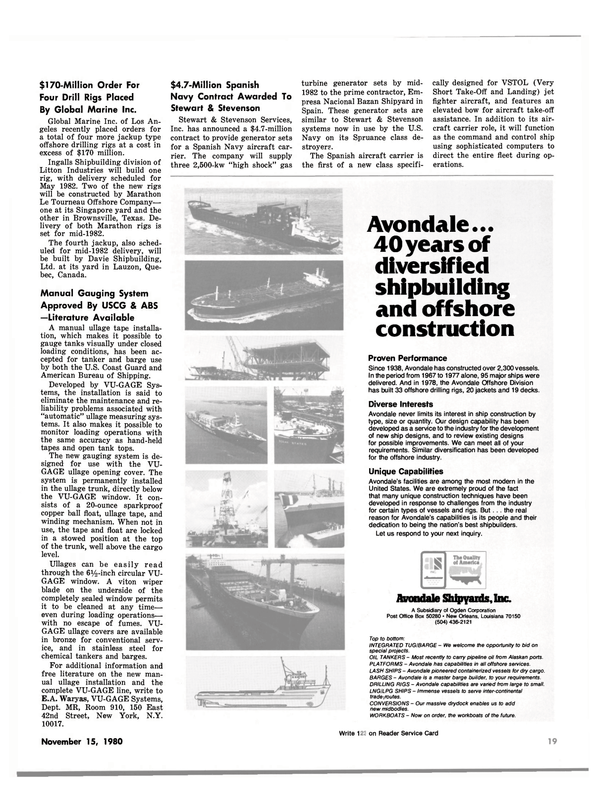 Maritime Reporter Magazine, page 17,  Nov 15, 1980