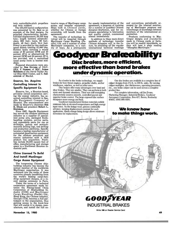 Maritime Reporter Magazine, page 49,  Nov 15, 1980