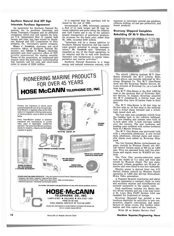 Maritime Reporter Magazine, page 10,  Dec 15, 1980 Adrian S. Hooper