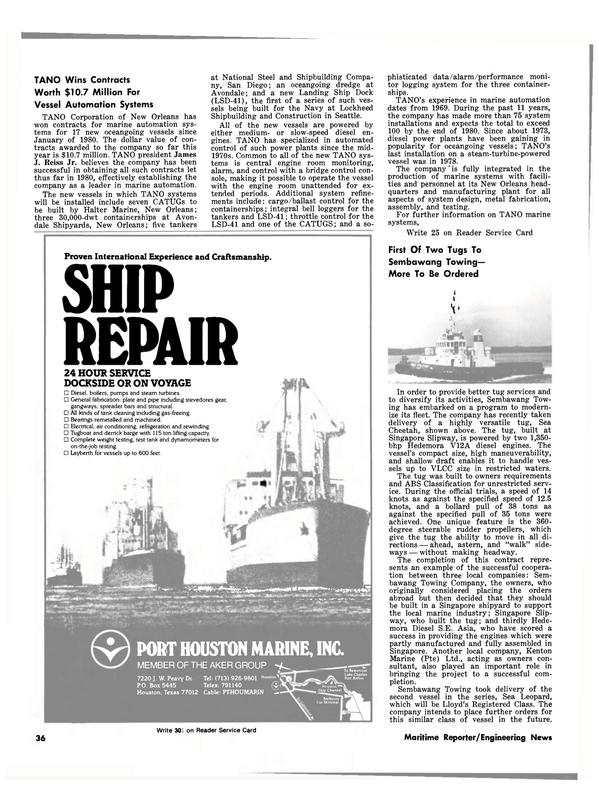 Maritime Reporter Magazine, page 30,  Dec 15, 1980