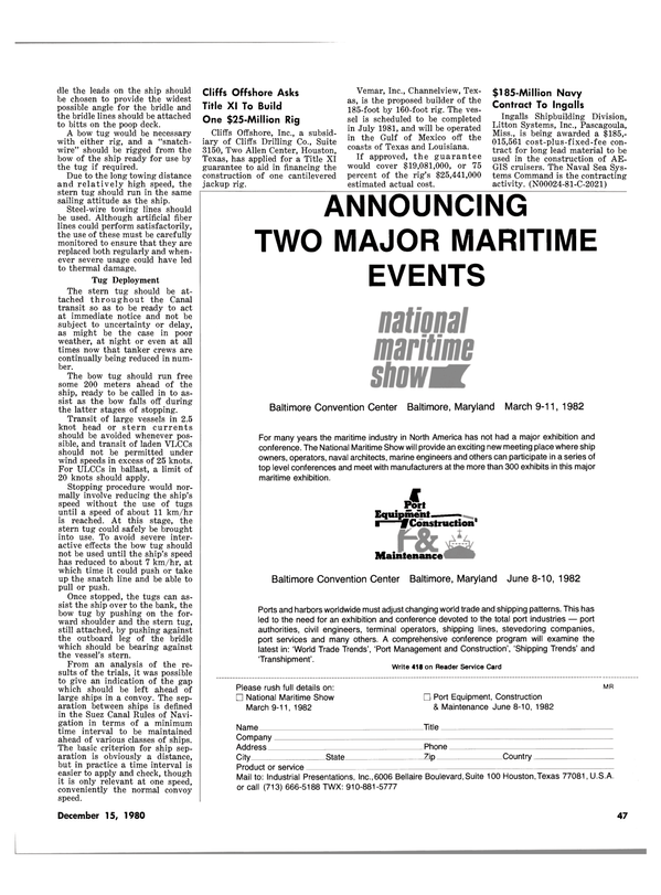 Maritime Reporter Magazine, page 43,  Dec 15, 1980