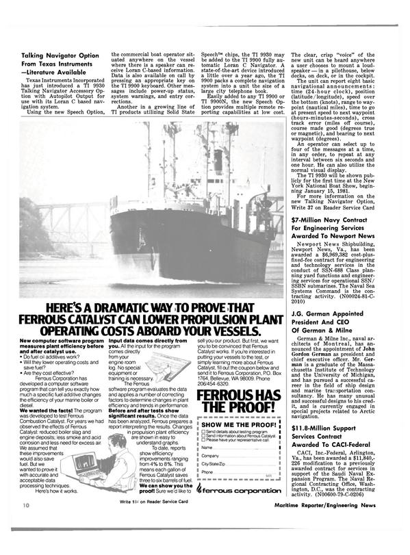 Maritime Reporter Magazine, page 8,  Jan 1981