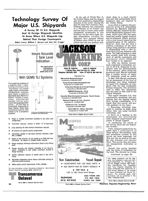 Maritime Reporter Magazine, page 34,  Jan 1981 Florida
