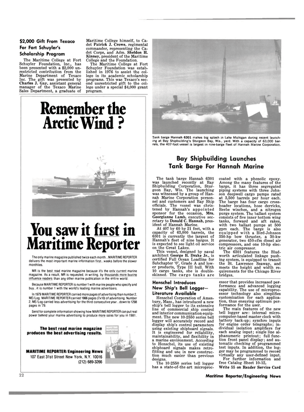 Maritime Reporter Magazine, page 20,  Jan 15, 1981 Massachusetts