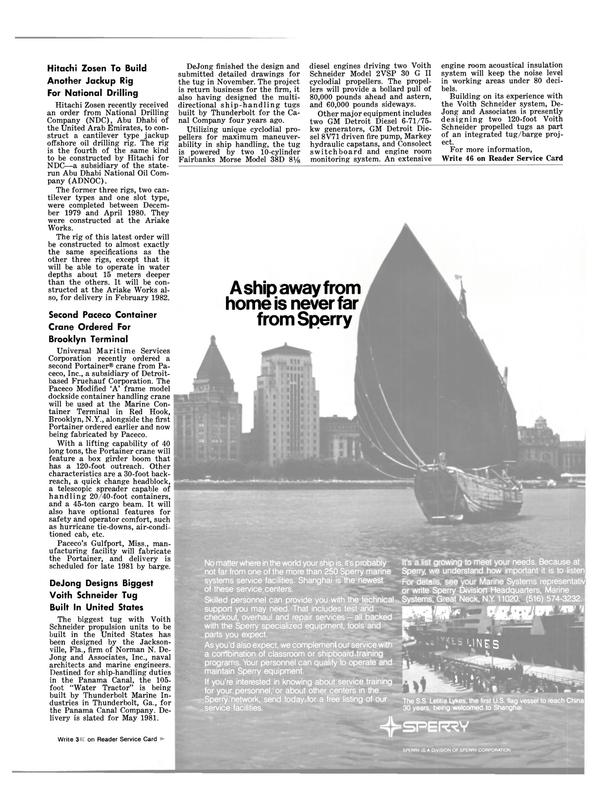Maritime Reporter Magazine, page 21,  Jan 15, 1981