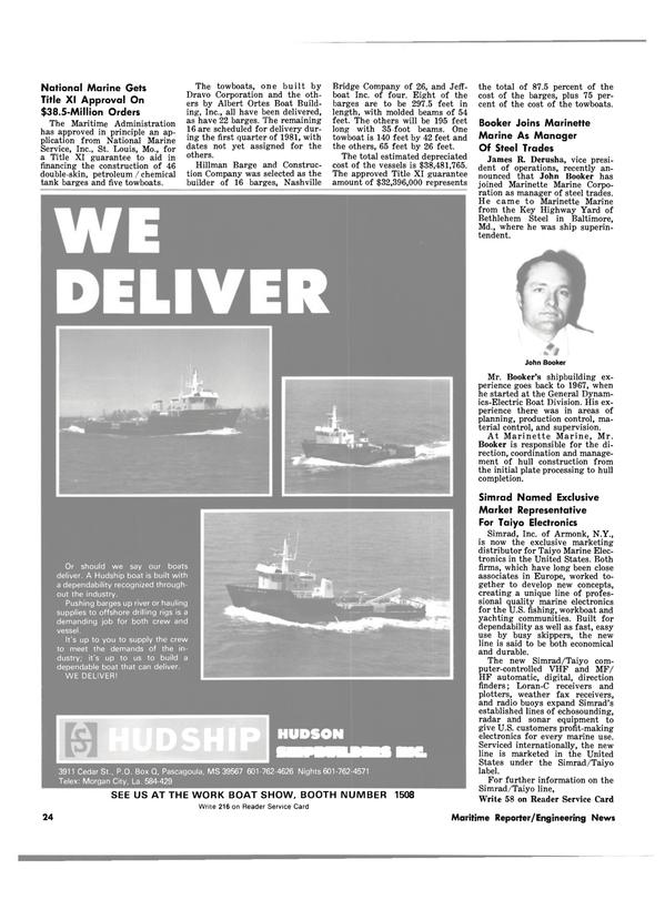 Maritime Reporter Magazine, page 22,  Jan 15, 1981