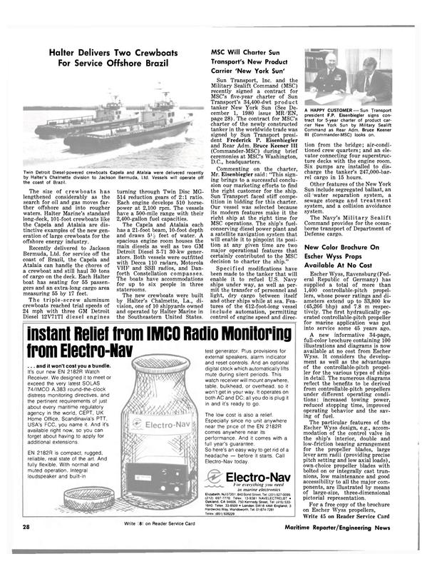 Maritime Reporter Magazine, page 26,  Jan 15, 1981 the New York Sun