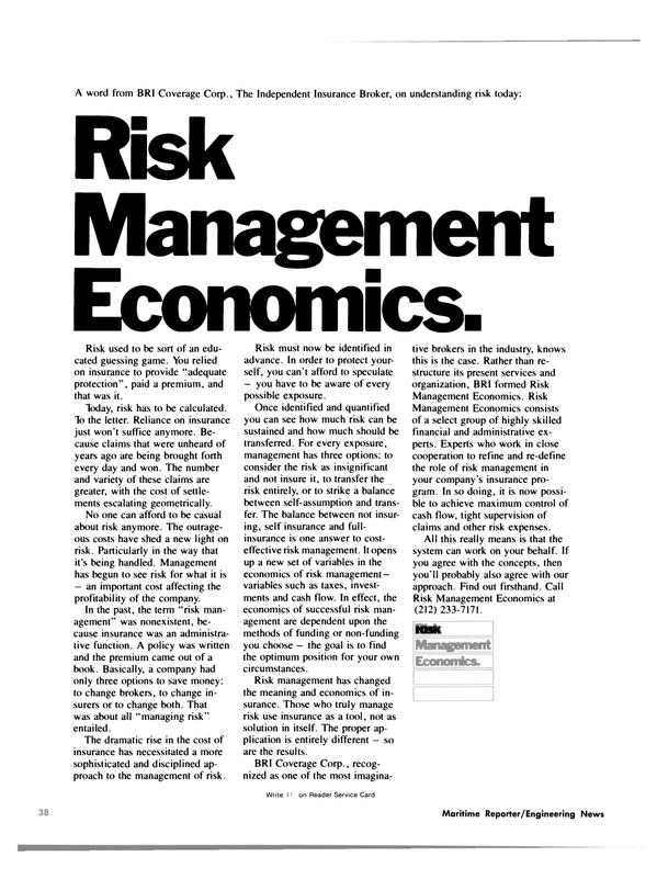 Maritime Reporter Magazine, page 36,  Jan 15, 1981 risk use insurance