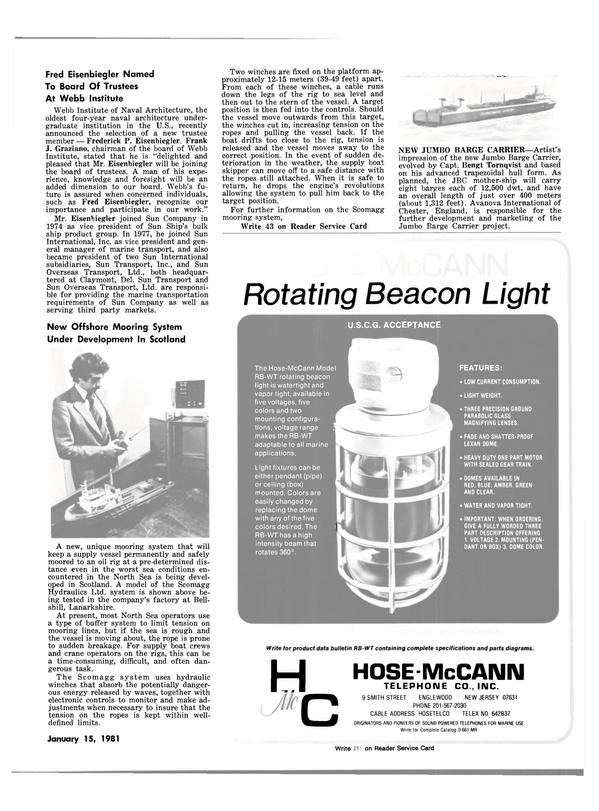 Maritime Reporter Magazine, page 37,  Jan 15, 1981 Frederick P. Eisenbiegler