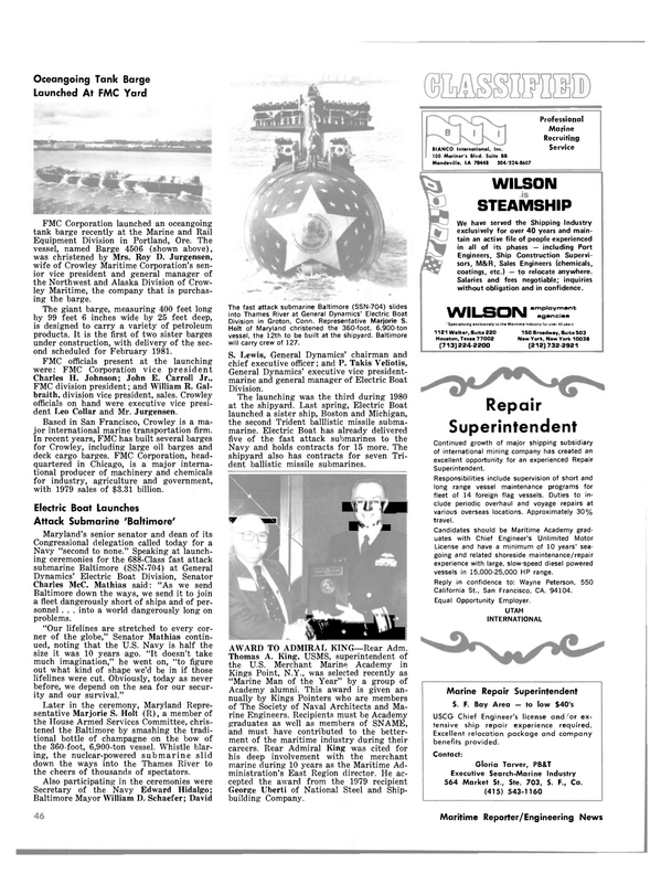Maritime Reporter Magazine, page 46,  Jan 15, 1981 Oregon