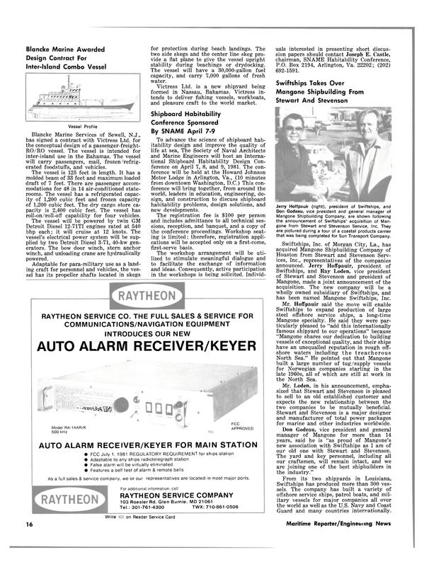 Maritime Reporter Magazine, page 14,  Feb 15, 1981