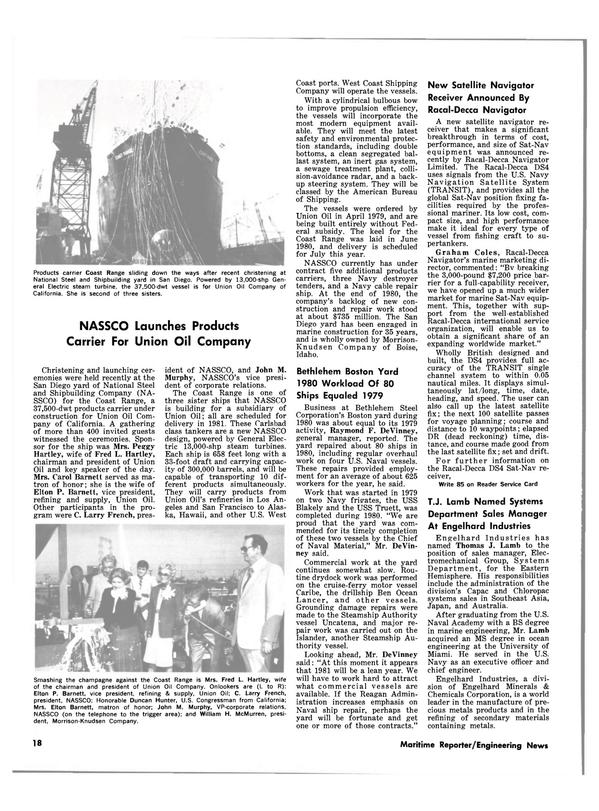 Maritime Reporter Magazine, page 16,  Feb 15, 1981