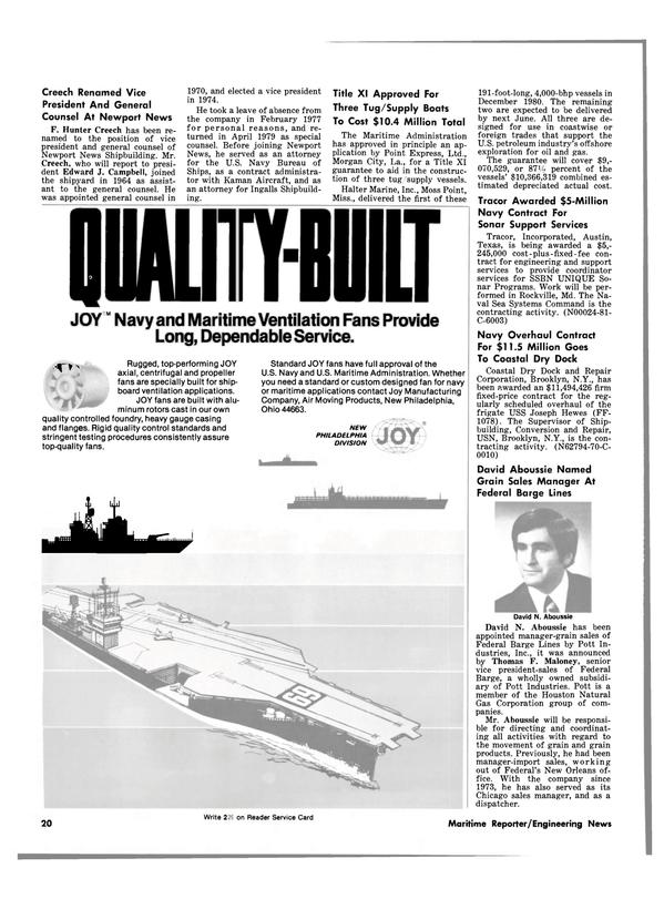 Maritime Reporter Magazine, page 18,  Feb 15, 1981 Ohio