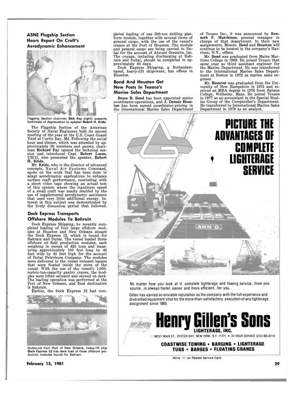 Maritime Reporter Magazine, page 27,  Feb 15, 1981