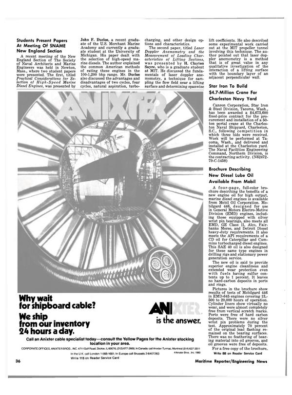 Maritime Reporter Magazine, page 34,  Feb 15, 1981