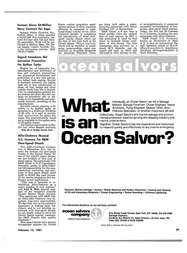 Maritime Reporter Magazine, page 37,  Feb 15, 1981