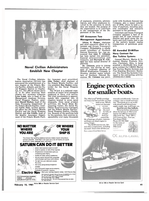 Maritime Reporter Magazine, page 39,  Feb 15, 1981