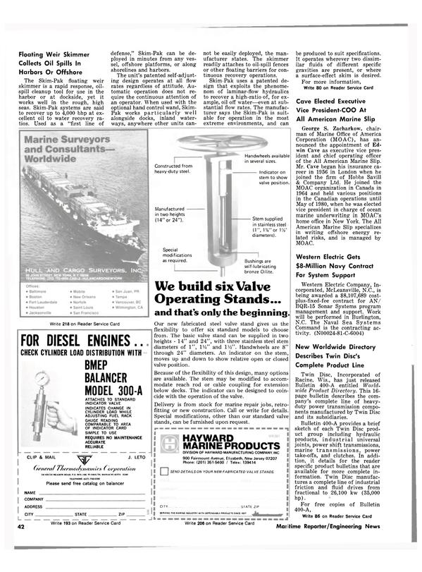 Maritime Reporter Magazine, page 40,  Feb 15, 1981