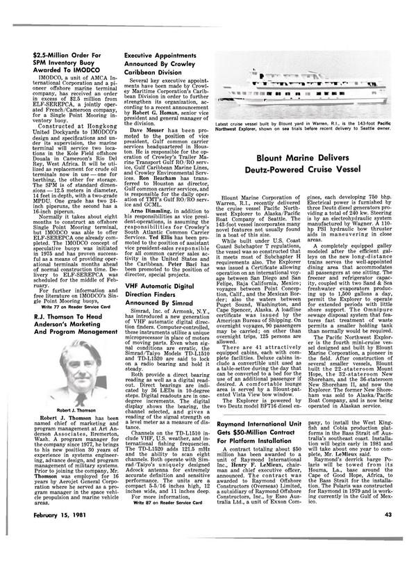 Maritime Reporter Magazine, page 41,  Feb 15, 1981