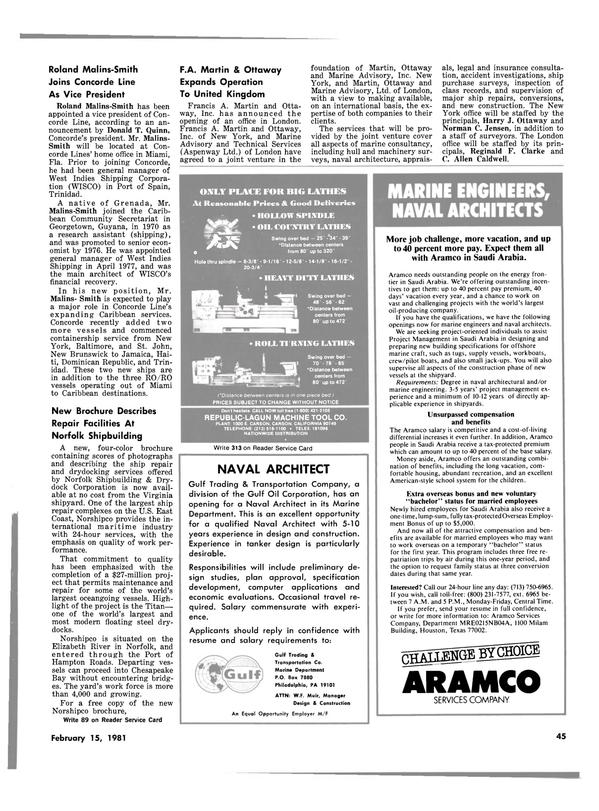 Maritime Reporter Magazine, page 43,  Feb 15, 1981