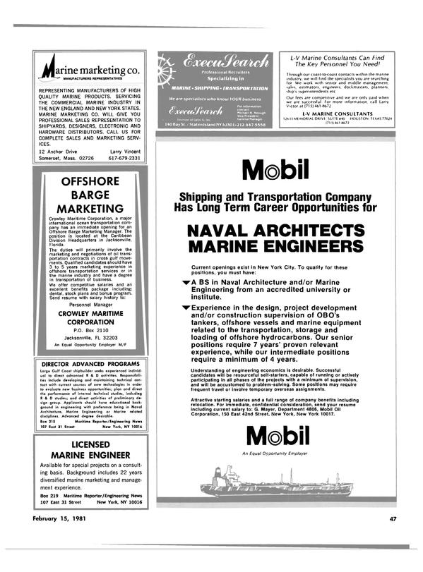 Maritime Reporter Magazine, page 45,  Feb 15, 1981