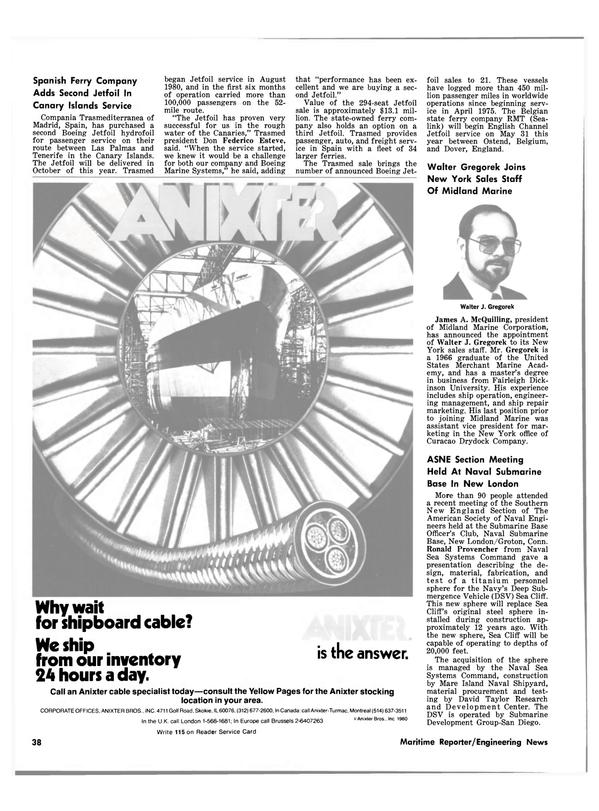Maritime Reporter Magazine, page 36,  Mar 15, 1981 Walter Gregorek Joins