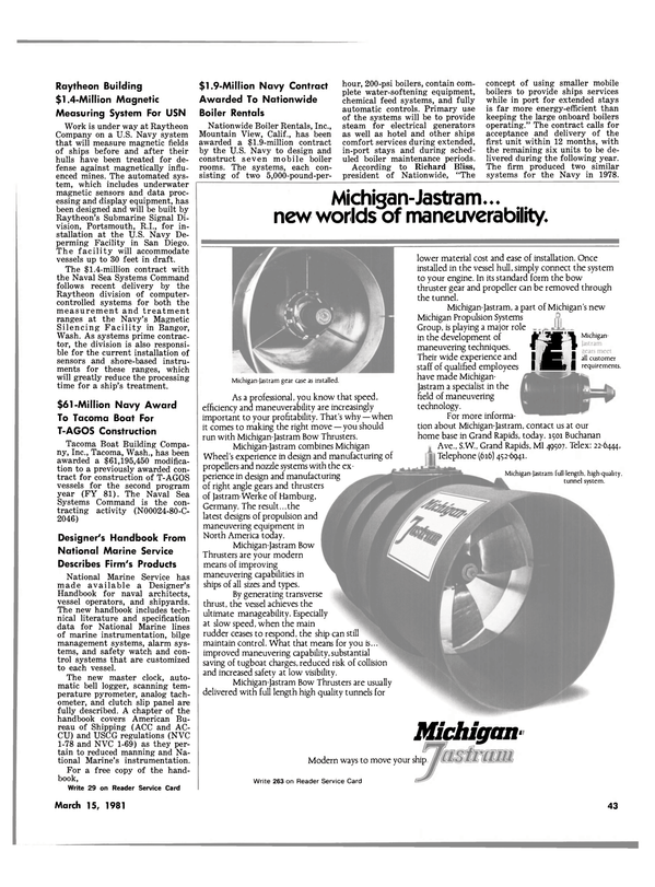 Maritime Reporter Magazine, page 41,  Mar 15, 1981 Richard Bliss