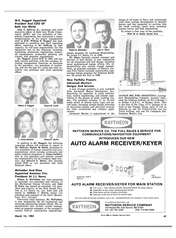 Maritime Reporter Magazine, page 45,  Mar 15, 1981 Texas