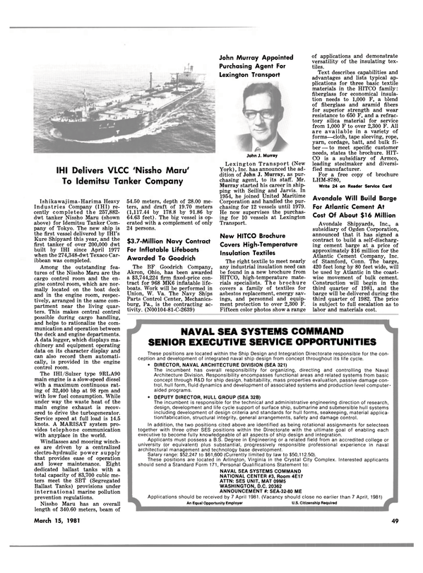 Maritime Reporter Magazine, page 47,  Mar 15, 1981