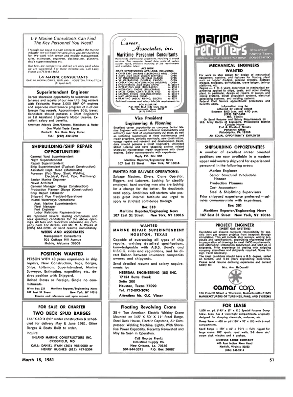 Maritime Reporter Magazine, page 49,  Mar 15, 1981 Pennsylvania