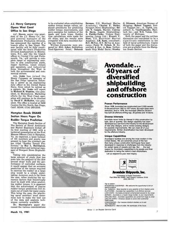 Maritime Reporter Magazine, page 5,  Mar 15, 1981 California