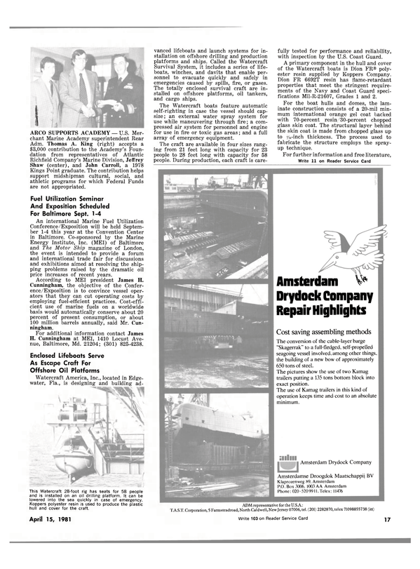 Maritime Reporter Magazine, page 15,  Apr 15, 1981 Florida