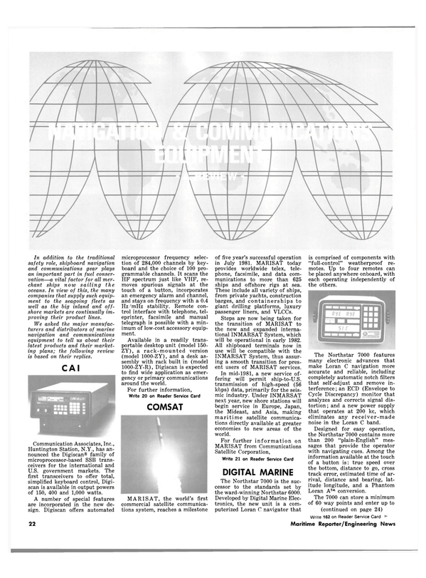 Maritime Reporter Magazine, page 20,  Apr 15, 1981 communications gear