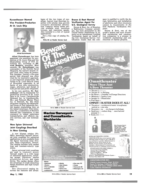 Maritime Reporter Magazine, page 15,  May 1981 California